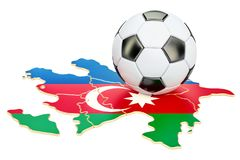 Palla di calcio con la mappa del concetto dell'Azerbaigian, rappresentazione 3D Immagine Stock Libera da Diritti