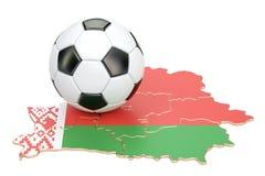 Palla di calcio con la mappa del concetto della Bielorussia, rappresentazione 3D Fotografia Stock Libera da Diritti
