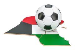 Palla di calcio con la mappa del concetto del Kuwait, rappresentazione 3D Fotografie Stock