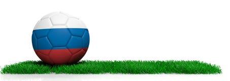 Palla di calcio di calcio della Russia su erba, fondo bianco illustrazione 3D Immagine Stock