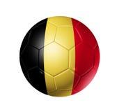 Palla di calcio di calcio con la bandiera del Belgio Immagini Stock