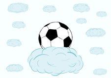 Palla di calcio su una nuvola Fotografie Stock