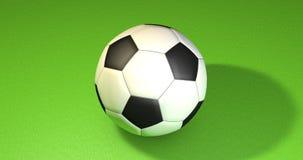 Palla di calcio sul verde illustrazione 3D Fotografia Stock Libera da Diritti