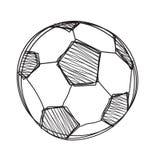 Palla di calcio di tiraggio della mano illustrazione di stock