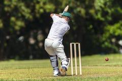 Palla di colpo del battitore del cricket Fotografia Stock