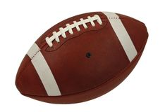 Palla di cuoio del gioco di football americano isolata fotografia stock