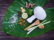 Palla di erbe della compressa per il trattamento tailandese della stazione termale e di massaggio popolare Fotografia Stock Libera da Diritti