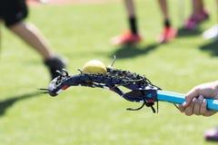 Palla di lacrosse che equilibra sul retro del bastone immagine stock libera da diritti