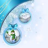 Palla di Natale con il pupazzo di neve Fotografia Stock