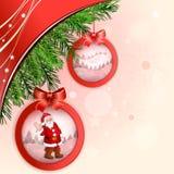 Palla di Natale con il pupazzo di neve Fotografia Stock Libera da Diritti