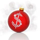 Palla di Natale con il simbolo di dollaro Fotografia Stock