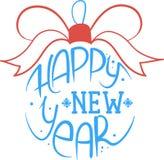 Palla di Natale con l'iscrizione del buon anno Illustrazione di vettore Fotografie Stock