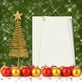 Palla di Natale con la cartolina d'auguri Fotografia Stock