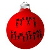 Palla di Natale con le siluette dei bambini Fotografia Stock