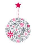 Palla di Natale dei fiocchi di neve Fotografia Stock Libera da Diritti
