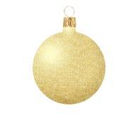 Palla di natale dell'oro isolata su bianco Immagine Stock