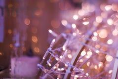 Palla di Natale delle luci Fotografie Stock Libere da Diritti