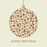Palla di Natale nel retro stile Fotografia Stock Libera da Diritti