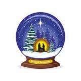 Palla di Natale Scena di natività Natale Maria, Joseph e piccolo Gesù Foresta e neve royalty illustrazione gratis