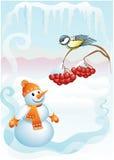Palla di neve & titmouse Fotografia Stock