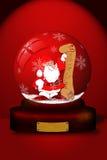 Palla di neve con il Babbo Natale Fotografie Stock