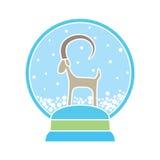 Palla di neve con la capra - un simbolo di 2015 Immagine Stock Libera da Diritti
