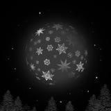 Palla di neve di notte con struttura del fiocco di neve e fondo nero Fotografia Stock