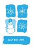 Palla di neve e fiocchi di neve sorridenti Fotografie Stock