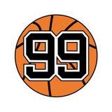 Palla di pallacanestro con il numero 99 Fotografie Stock Libere da Diritti