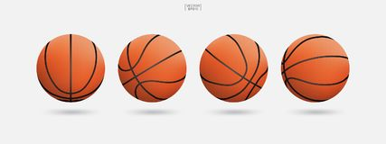 Palla di pallacanestro isolata su fondo bianco Illustrazione di vettore royalty illustrazione gratis