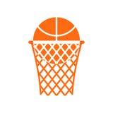 Palla di pallacanestro nell'emblema dell'anello Mette in mostra il logo Gioco del segno Immagini Stock Libere da Diritti