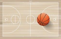 Palla di pallacanestro sul campo di pallacanestro con la linea area della corte Vettore royalty illustrazione gratis