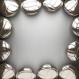 Palla di pallavolo e fondo della parete del metallo Fotografie Stock