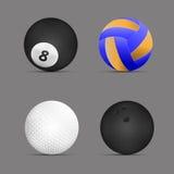 Palla di pallavolo, palla di biliardo, palla da golf, palla da bowling con fondo grigio Insieme delle sfere di sport Vettore Illu Fotografia Stock Libera da Diritti