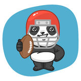 Palla di Panda American Football Player Holding Immagini Stock