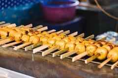 Palla di pesce della griglia con pasta di curry Immagine Stock