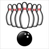 Palla di PrintBowling e vettore dell'illustrazione dei perni di bowling Facile pubblicare fotografia stock libera da diritti
