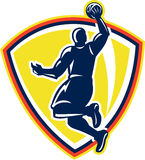 Palla di rimbalzo Dunking di Basketballer retro illustrazione di stock