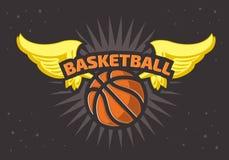 Palla di tema di pallacanestro di progettazione della stampa della maglietta di pallacanestro e grafico di vettore delle ali royalty illustrazione gratis
