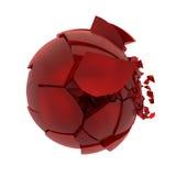 Palla di vetro rossa rotta Fotografie Stock