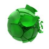 Palla di vetro verde rotta Fotografia Stock