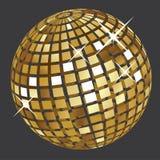 Palla dorata della discoteca Fotografia Stock