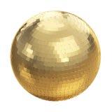 Palla dorata della discoteca su bianco Fotografie Stock