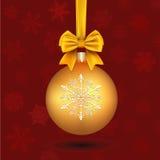 Palla dorata di Natale Fotografia Stock