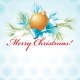 Palla dorata sul ramo di un albero di Natale con neve illustrazione vettoriale