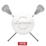 Palla e bastoni di lacrosse Fotografia Stock Libera da Diritti