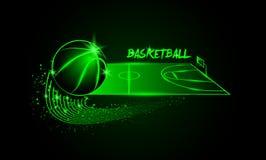 Palla e campo da pallacanestro di pallacanestro nella prospettiva orizzontale royalty illustrazione gratis