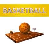 Palla e campo di pallacanestro con l'emblema degli anelli Fotografia Stock