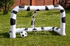 Palla e scopi di calcio dei bambini Fotografia Stock Libera da Diritti