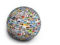 Palla, elemento di progettazione del globo fatto delle immagini della gente, animali e posti Fotografia Stock Libera da Diritti
